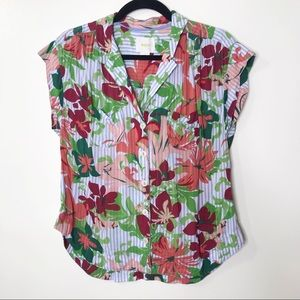 Maeve by Anthropologie Cap Sleeve Blouse G455